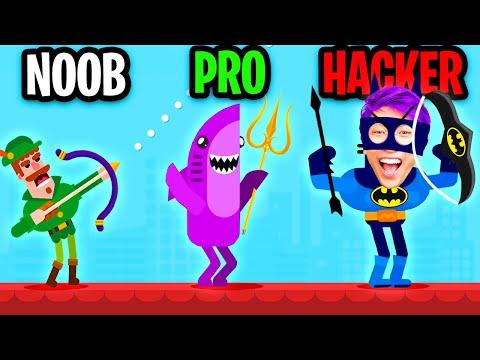 NOOB vs PRO vs HACKER In BOWMASTERS! (BATMAN & MINECRAFT SKINS! *UNLOCKED BEST CHARACTERS!*)