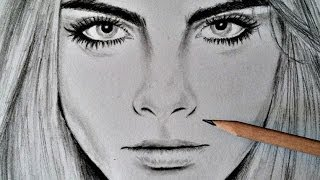 Cara Delevingne, Time-Lapse Drawing with pencil