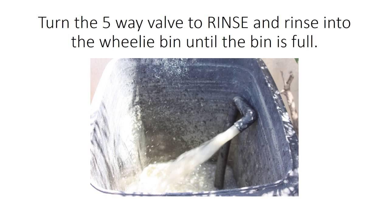 Backwashing pool water into a 240 litre wheelie bin