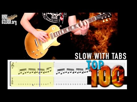Top 100 Rock Riffs Medley  **Slow With GUITAR TABS**   PART 1