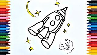 Drawing for Kids Drawing rocket in space Picture Coloring Pages - Video for Kids