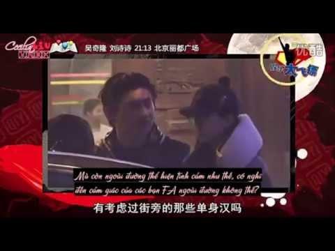 [Vietsub][Tình cảm] Ngô Kỳ Long - Lưu Thi Thi tình cảm vuốt mặt nhau trên đường phố