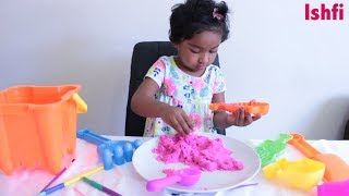 Happy Toddler Ishfi Plays with Kinetic Sand Pre School Children Fun Time at Home