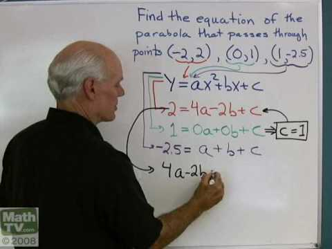 Algebra Help Finding The Equation Of A Parabola Youtube