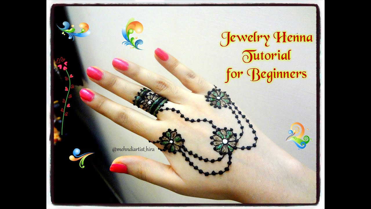 Mehndi Tutorial For Beginners : How to apply easy simple jewellery style mehndi designs