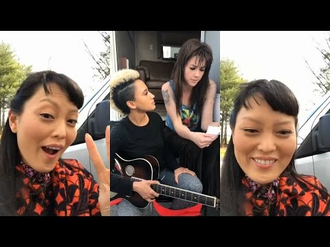 Hana Mae Lee  Instagram Live Stream  on Pitch Perfect 3 SET w Andy Allo & Hannah Fairlight