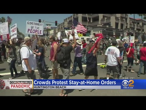 Huntington Beach May Day Protest Draws Crowds As Judge Denies Restraining Order Against Newsom