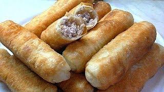 Трубочки с мясом . Жареные пирожки. Тесто для пирожков и пончиков.