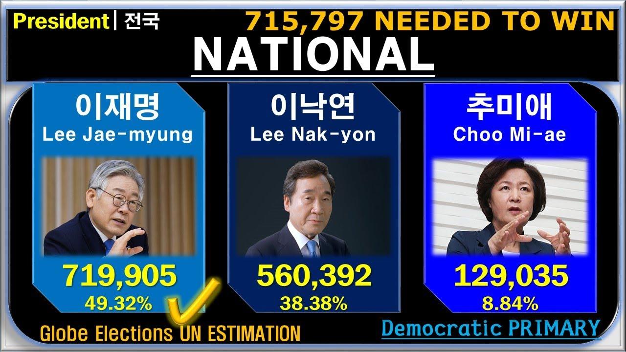 [대한민국/한국 대통령 선거(대선)] 2021년 민주당(DPK) 경선 전국 최종 결과 - 경기, 서울, 3차 국민 선거인단, 재외국민 포함
