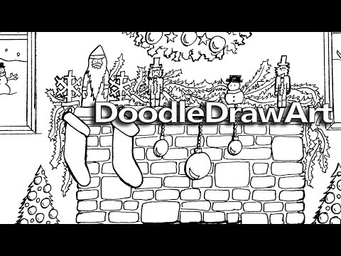 doodle coloring page christmas fireplace hearth with printable coloring page doodledrawartcom