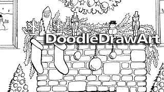 Doodle Coloring Page:  Christmas Fireplace Hearth - with Printable Coloring Page | DoodleDrawArt.com
