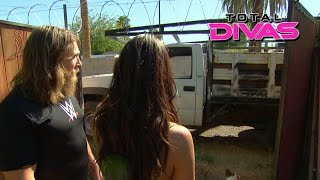 Brie Bella installs a razor wire fence: Total Divas, January 25, 2015
