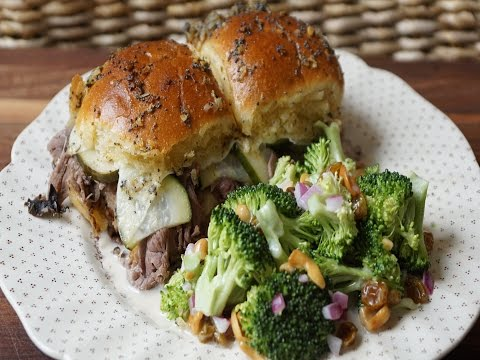 BAKED ROAST BEEF AND PROVOLONE SANDWICHES WITH DELMY'S BROCCOLI SALAD