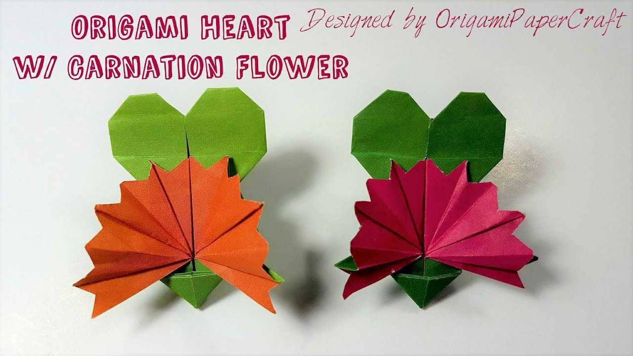 Origami Heart With Carnation Flower Mothers Day Origami Youtube
