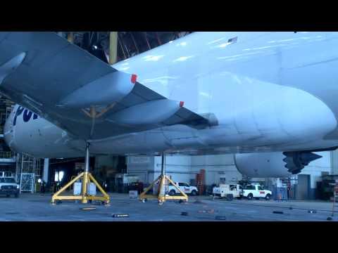 Polar Air 747-8 gear swing JFK Hanger 19
