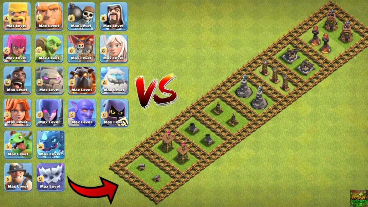 ALL TROOPS VS LEVEL ONE DEFENCE TROLL BASE CLASH OF CLANS || MAX TROOPS VS LEVEL 1 DEFENCE COC