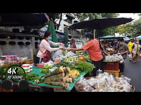 [4K] Bangkok Street Food In The Morning | Local Market In Thailand