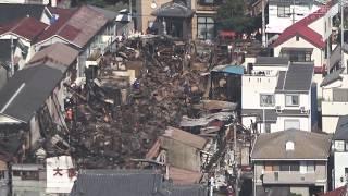 火災から一夜明けた明石市の大蔵市場