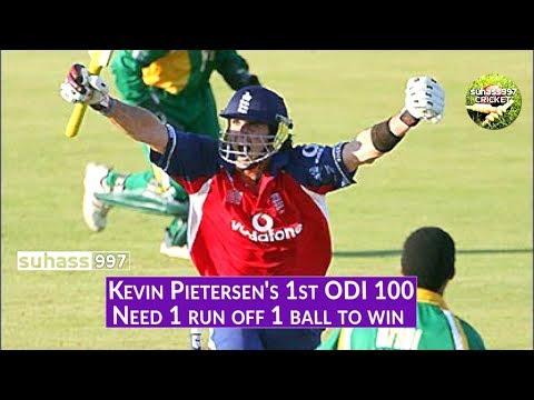 Kevin Pietersen's 1st ODI century - Chokers! Last ball thrilling finish! (Need 1 run off last ball)