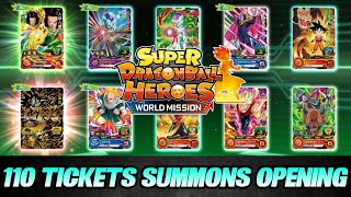 110 Tickets OPENING Summon! 😮 100 Normale & 10 Gold! | Super Dragon Ball Heroes World Mission