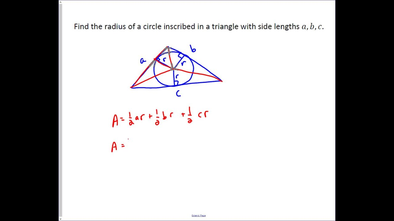 Finding the radius of an inscribed circle in a triangle youtube finding the radius of an inscribed circle in a triangle ccuart Images
