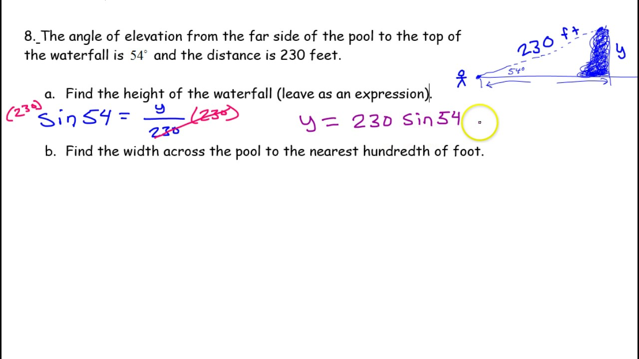Day 16 Test C (8) Using Trig To Solve Real World Problems, Applications