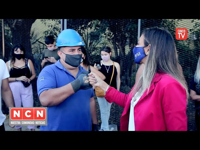 CINCO TV - Malena Galmarini incorporó a 5000 vecinos del Barrio BASI a las redes cloacales de AySA
