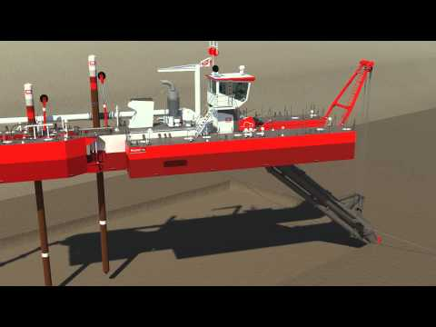 Animation cutter dredge (Beaver B50, spud carriage)