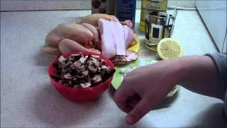 Цыпленок с портобелло и беконом