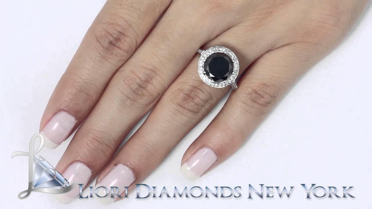 Bdr030  416 Carat Vintage Style Natural Black Diamond Engagement Ring  18k White Gold