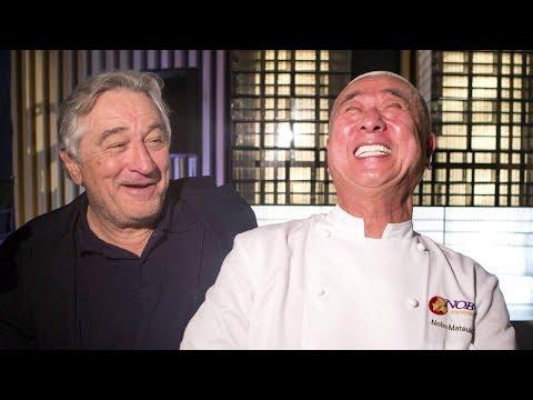 Chef Nobu jokes with Robert De Niro about actor's appetite