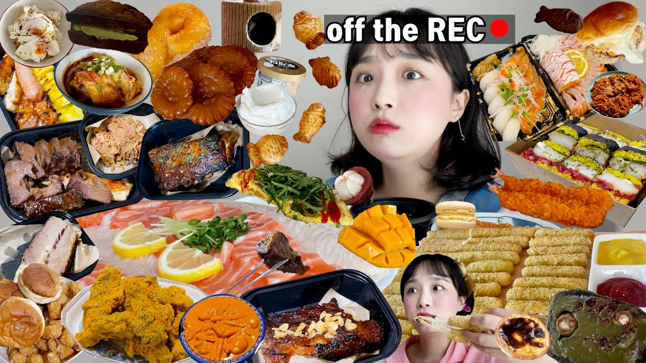 [옾더레] 아니 내가 이렇게나 많이 먹었다고..?🙄 | 역대급 분량조절 실패 | 약과생크림,연어회,광어회,롯데리아치즈스틱,딱새우김밥,제육볶음,초밥,꽈배기,간장계란밥,바베큐,붕어빵