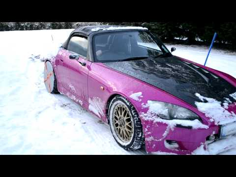 Honda S2000 In The Snow With Snow Socks