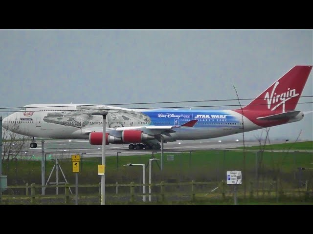 THE RETIRED FALCON | Virgin Atlantic Star Wars Boeing 747 Departing Manchester Airport!