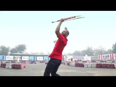 Dhawan takes Virat's Challenge - Trick Shot During MRF Shoot