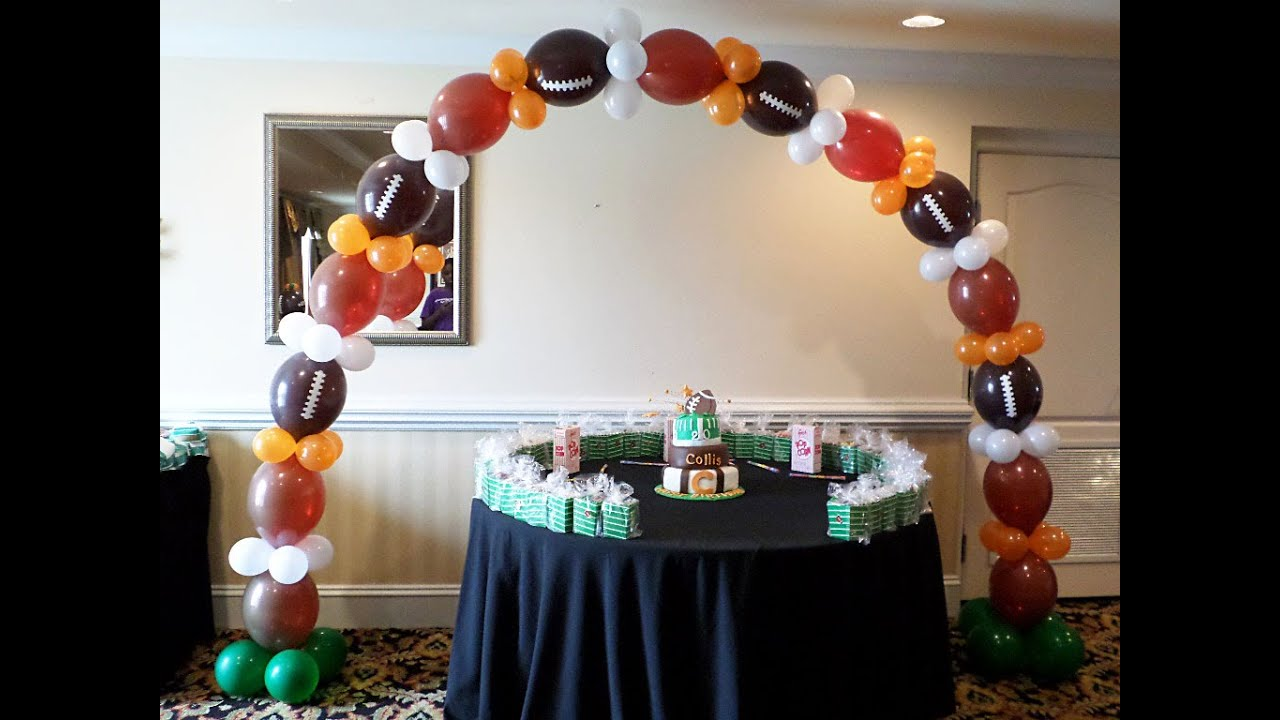 How it was done link o loon balloon theme football arch for Balloon decoration ideas youtube