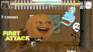 Tedi The Robotic Teddy Bear And Annoying Orange VS Derp And Rainbow Dash In A MUGEN Match / Battle
