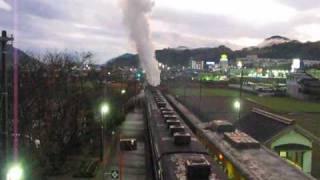 蒸気機関車・山口線大歳駅C571の通過・行き違い