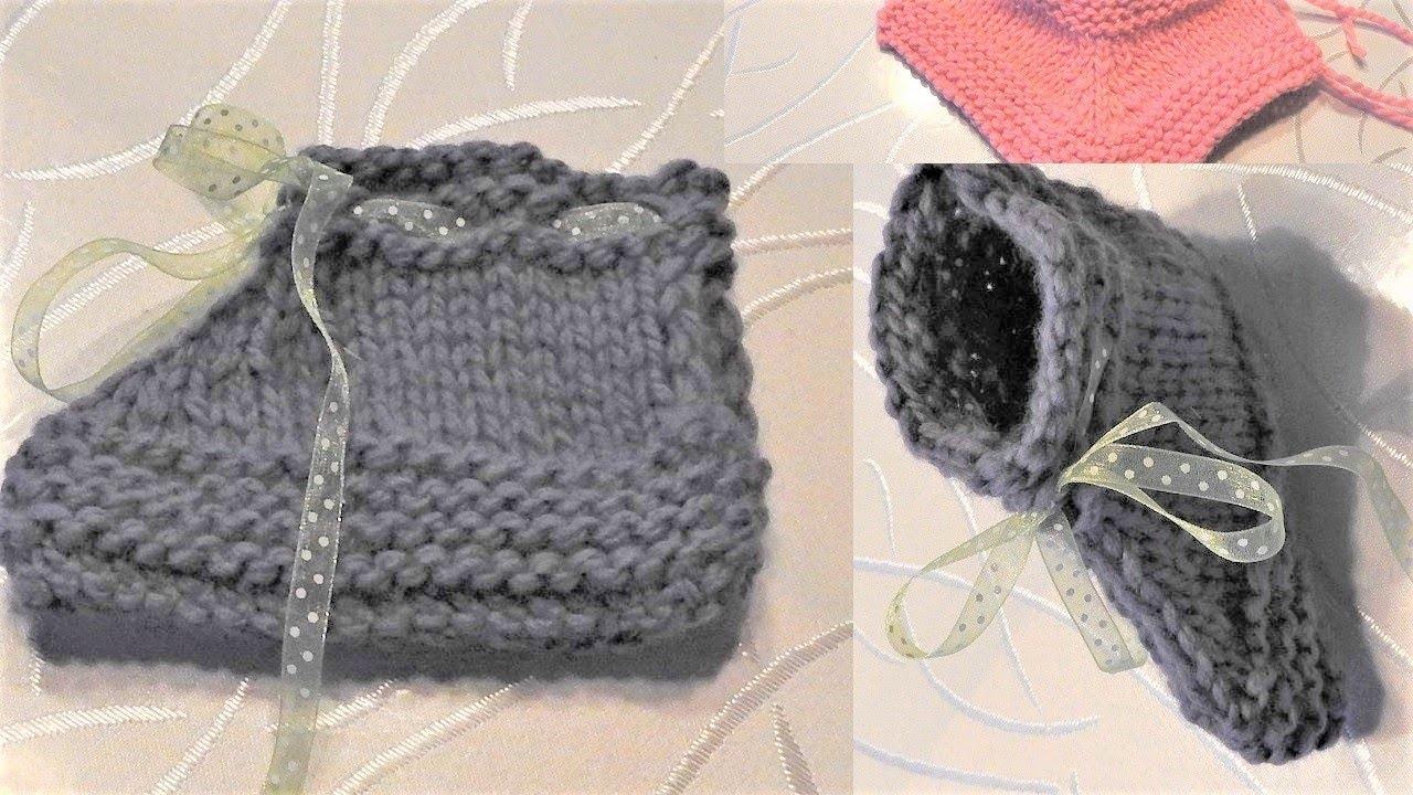 Tuto Tricot chaussons Bébé 6 mois-9 mois ; 12 mois-18 mois ; 2 ans | Chaussons facile en 1 pièce ...