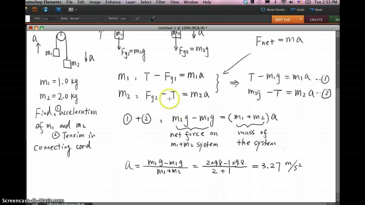 physics problem masses system on a pulley