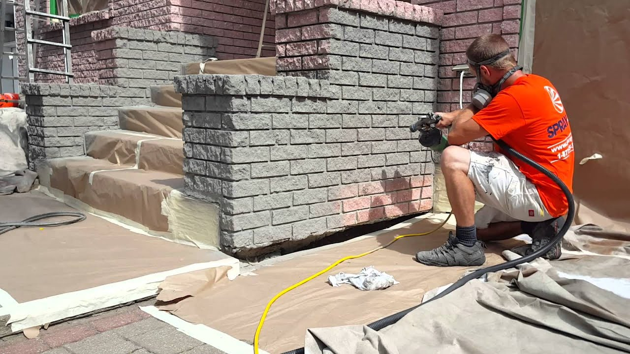 Exterior Brick Stain in Dover Grey - YouTube