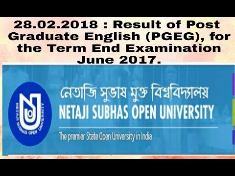 28.02.2018 : Result of Post Graduate English (PGEG), for the Term End Examination June 2017.