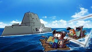 Minecraft | NAVAL WARSHIP ATTACKS MY RAFT FORT! (Boats Wars Challenge)