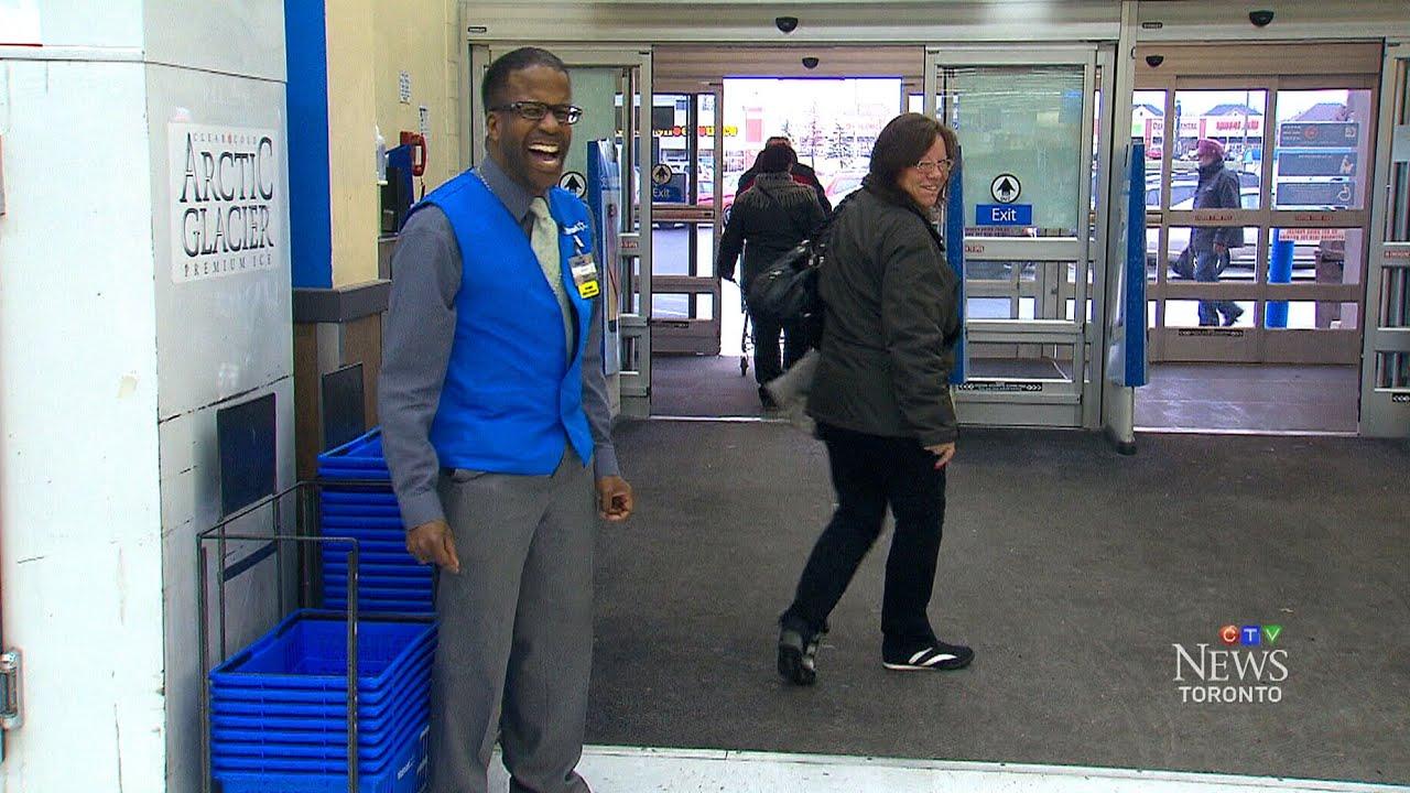 brampton walmart greeter entertains shoppers youtube