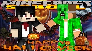 Minecraft School -VISITING HALLOWEEN TOWN AND VAMPIRES #2 w/Little Lizard & Tiny Turtle