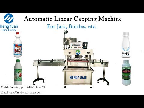Automatic Linear Type Bottle Screwing Capping Machine With 6 Wheels For Bottle Sealing Equipment