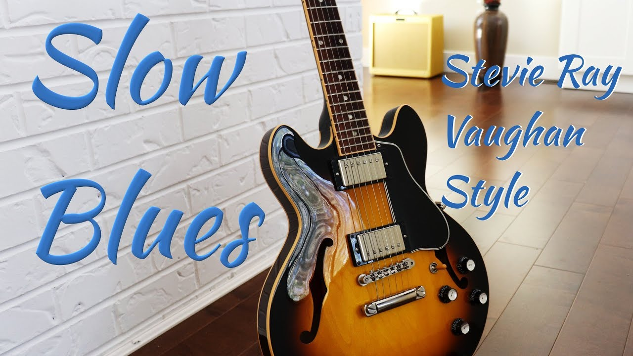 slow blues backing track - Stevie Ray Vaughan Style - key