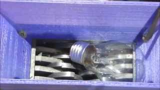 Shredding light bulbs of many shapes and kinds.