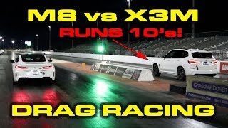 M8 vs X3M * BMW M8 Competition vs tuned BMW X3M 1/4 Mile Drag Racing