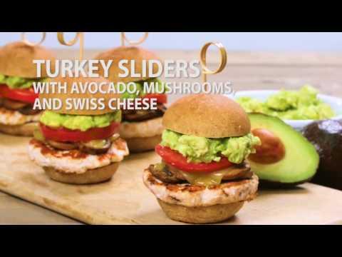 Turkey Sliders with Avocado, Mushrooms, and Swiss Cheese
